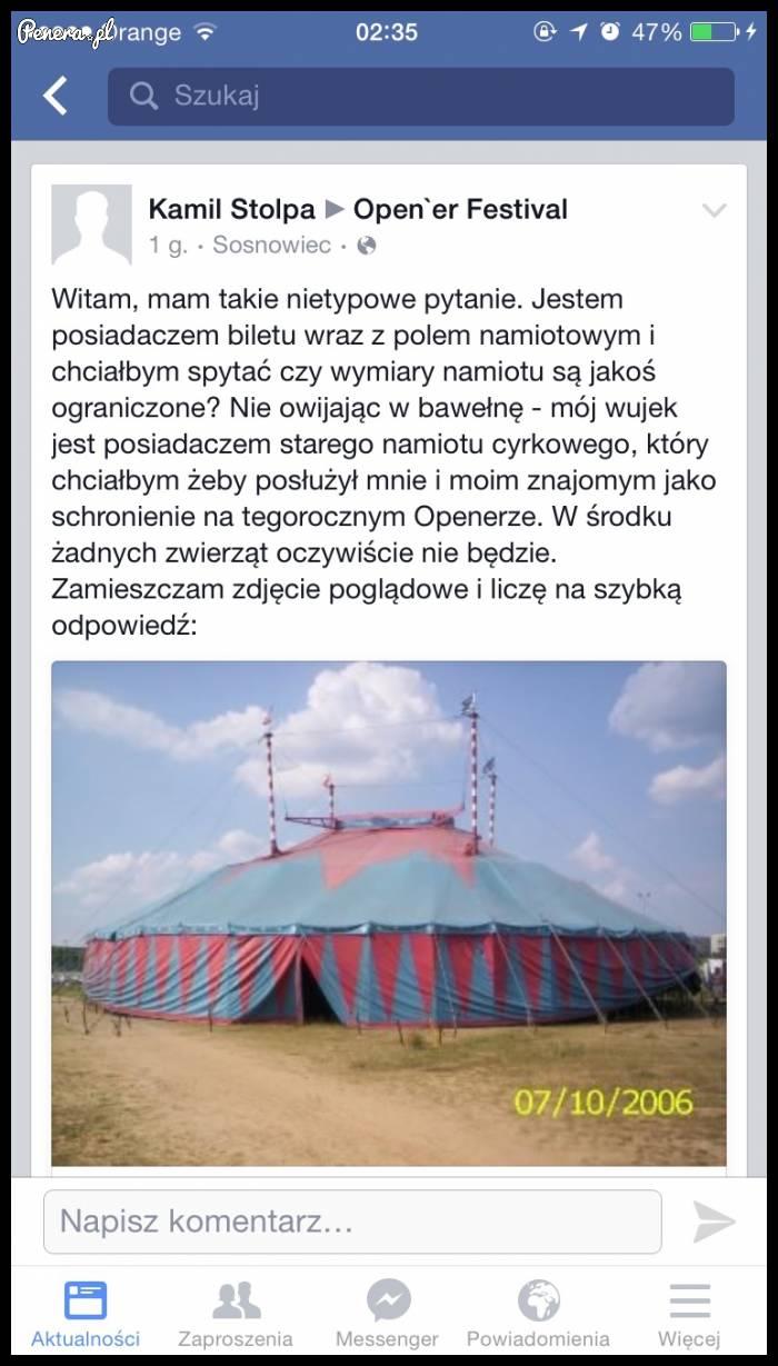 Kamil który zastanawiał się jaki namiot wziąć na Openaira