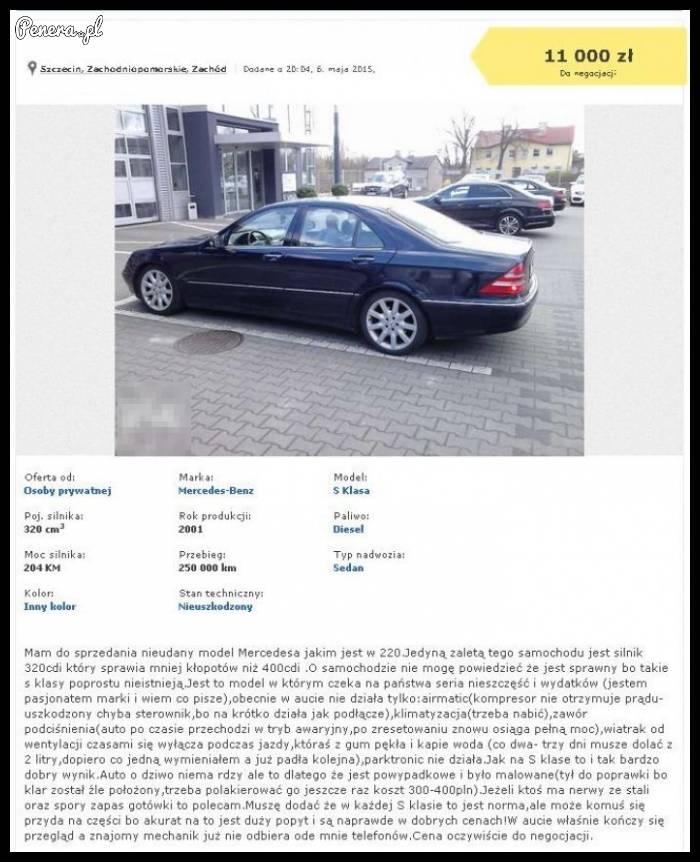 Uwaga sprzedam Mercedesa S Klasy