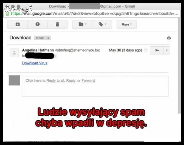 Ludzie wysyłający spam chyba wpadli w depresję