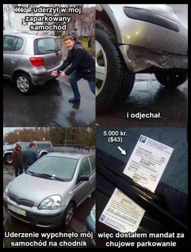 Uderzyli w jego samochód a on dostał mandat
