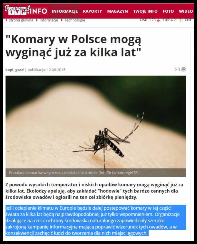 Komary mają wyginąć