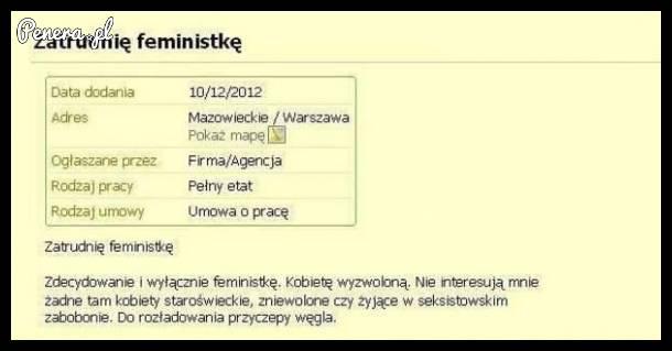 Praca tylko dla femistki