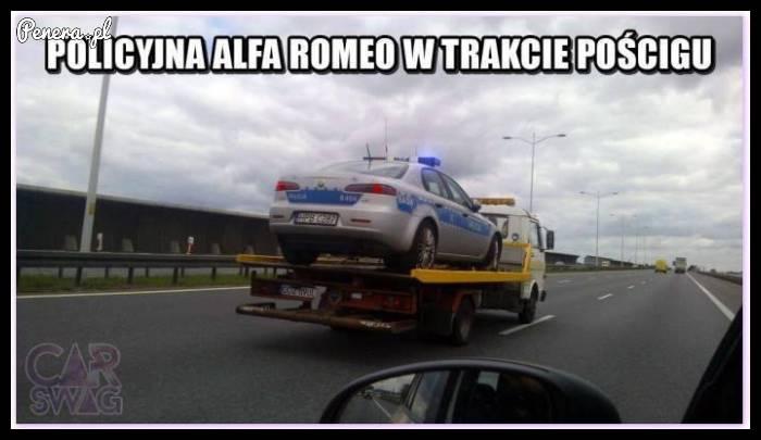 Policyjna Alfa w trakcie pościgu :D