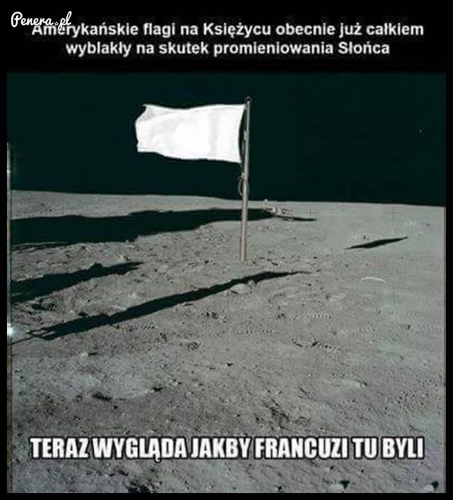 Teraz flaga na księżycu wygląda tak jakby byli tam Francuzi