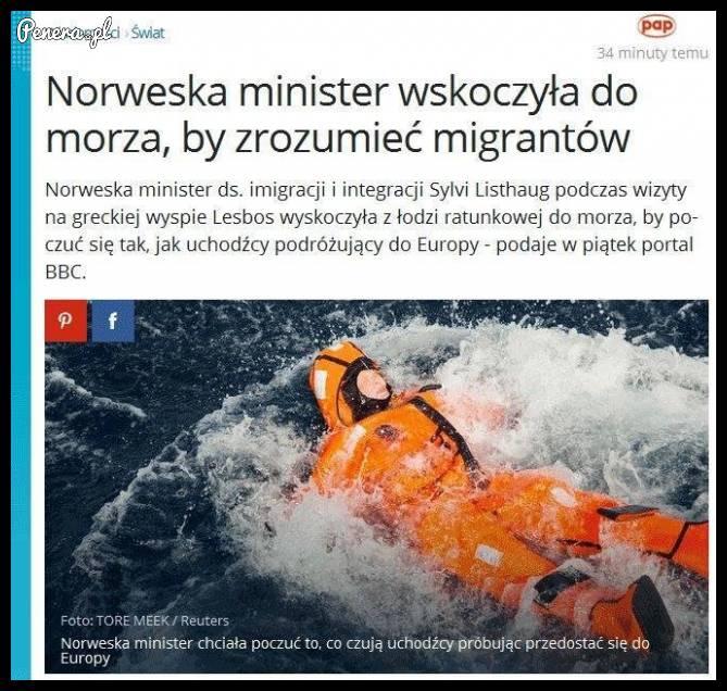 Norweska minister wskoczyła do morza