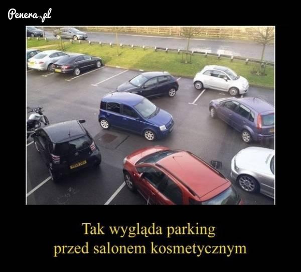 Tak wygląda parking przed salonem kosmetycznym