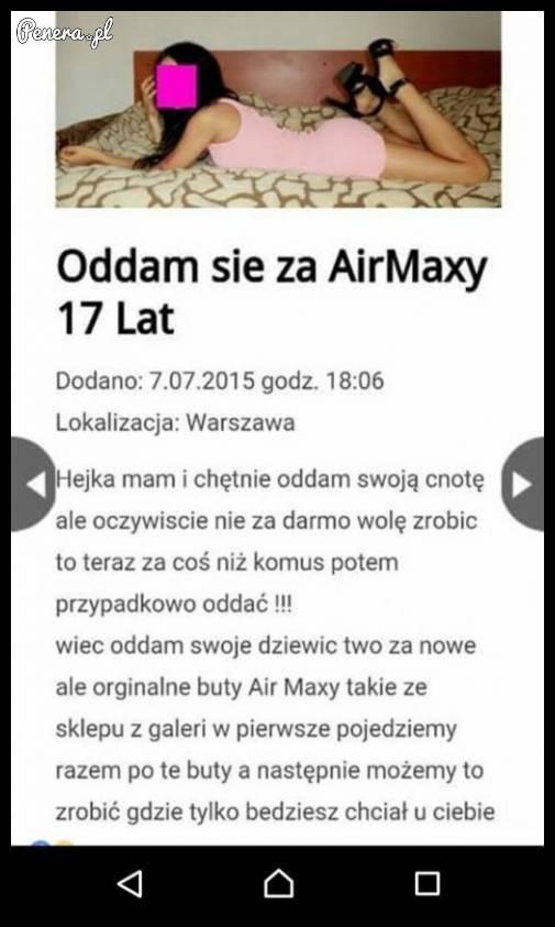 17 latka odda się za AirMaxy