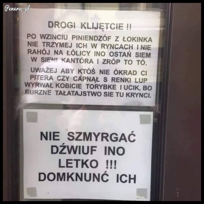 Takie tam ostrzeżenie w kantorze
