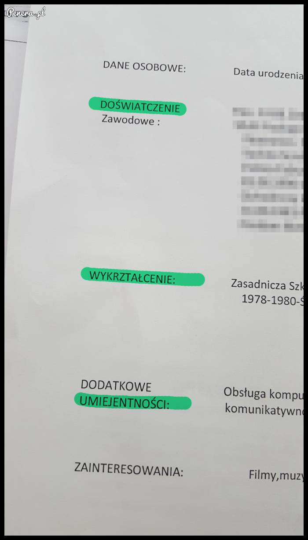 Kolejna mega CV-ka