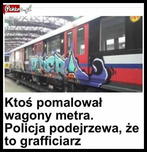 Ktoś pomalował pociągi metra