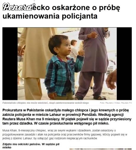 9 miesięczny chłopiec oskarżony o próbę morderstwa