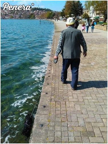 Dziadek z pieskiem na spacerze