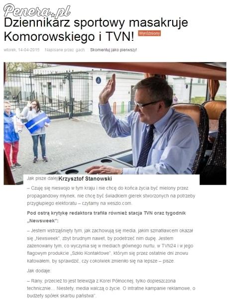 Dziennikarz sportowy masakruje Komorowskiego i TVN