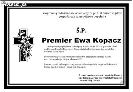 Ewa Kopacz popełniła samobójstwo