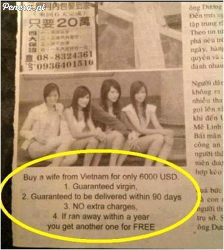 Ogłoszenie w gazecie - sprzedam dziewicę