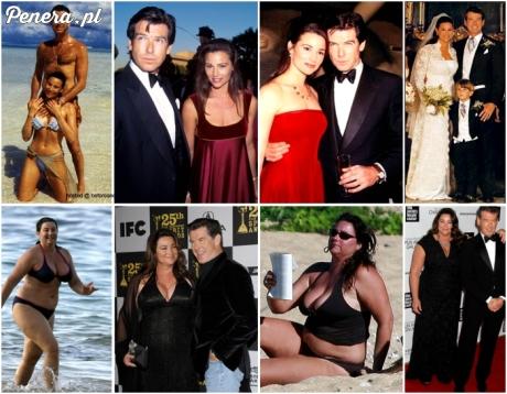 Pierce Brosnan z żoną przed i po ślubie.