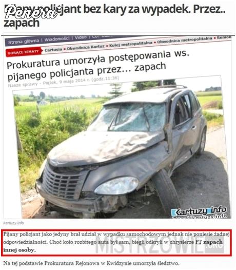 Pijany policjant jednak nie odpowie za spowodowanie wypadku