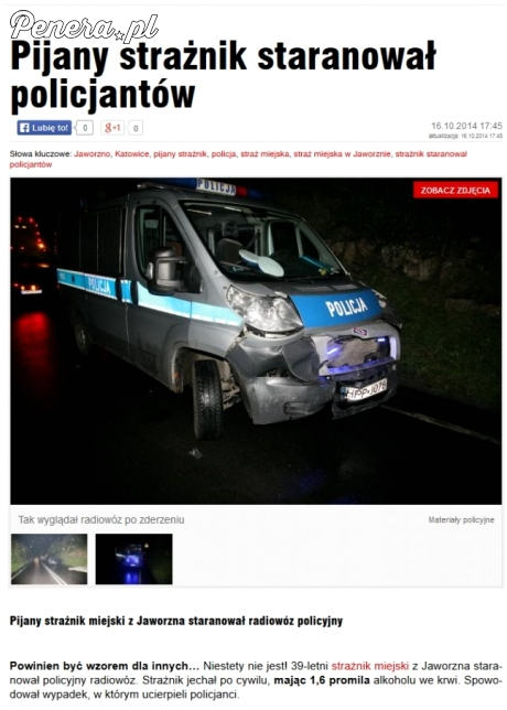 Pijany strażnik staranował policjantów