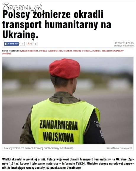 Polscy żołnierze okradli transport humanitarny dla Ukrainy