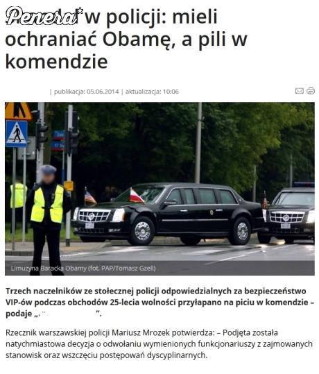Polska policja przywitała Obame po polsku