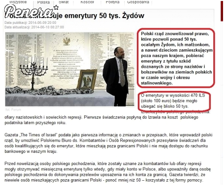 Polska sfinansuje emerytury żydom