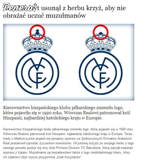 Real Madryt usunął z herbu krzyż