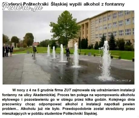Studenci Politechniki Śląskiej wypili alkohol z fontanny