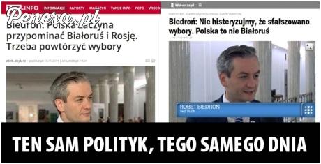 Ten sam polityk tego samego dnia