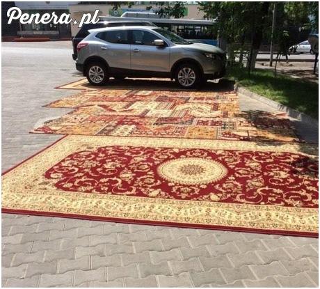 W Rosji dywan to podstawa nawet na parkingu