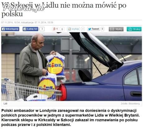 W Szkocji w Lidlu nie można mówić po Polsku