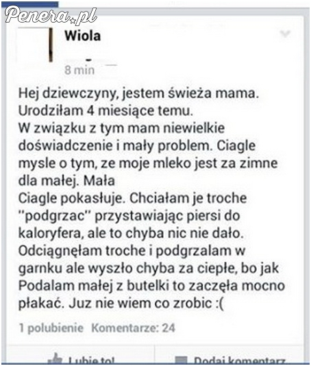Wiola ma problem z zimnym mlekiem w piersiach